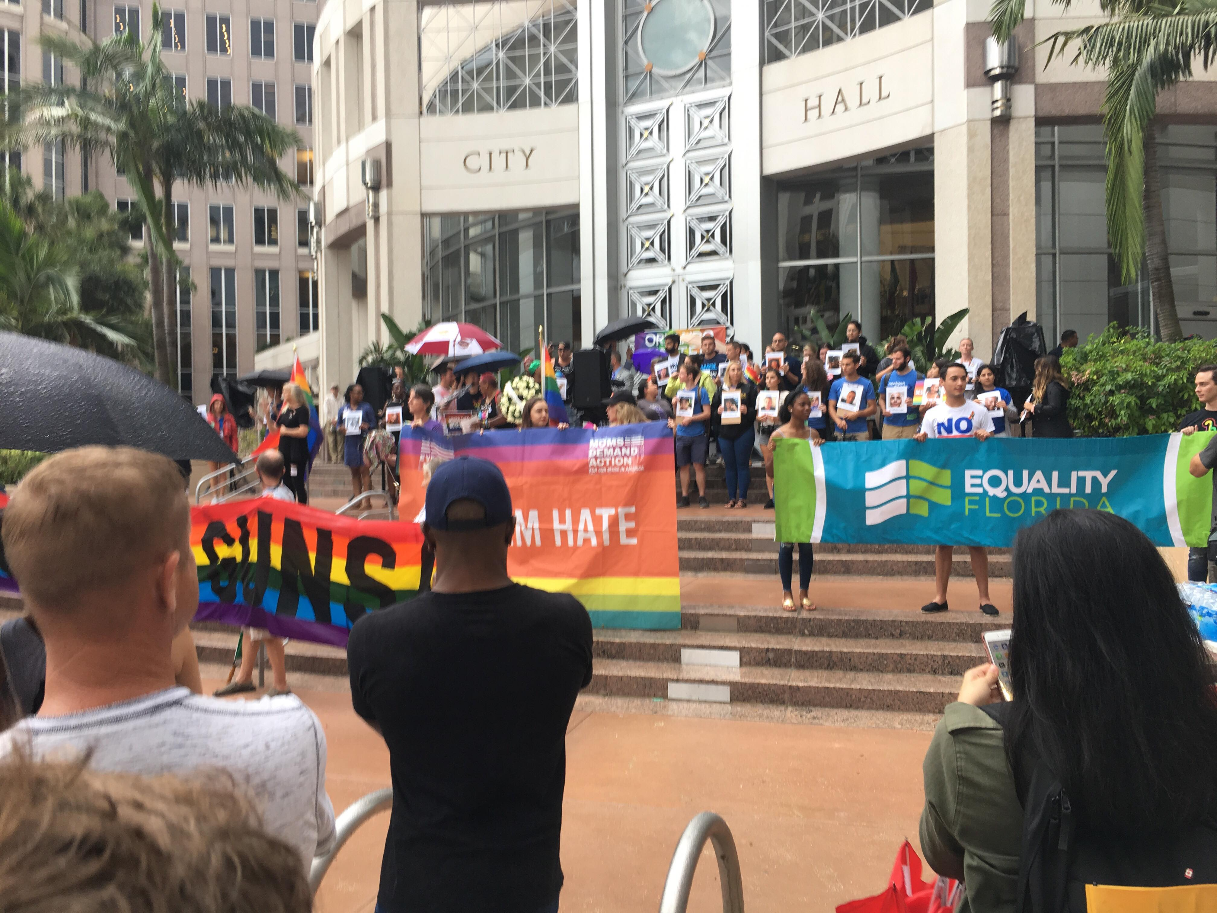 Orlando Gathers at City Hall in Remembrance of Pulse